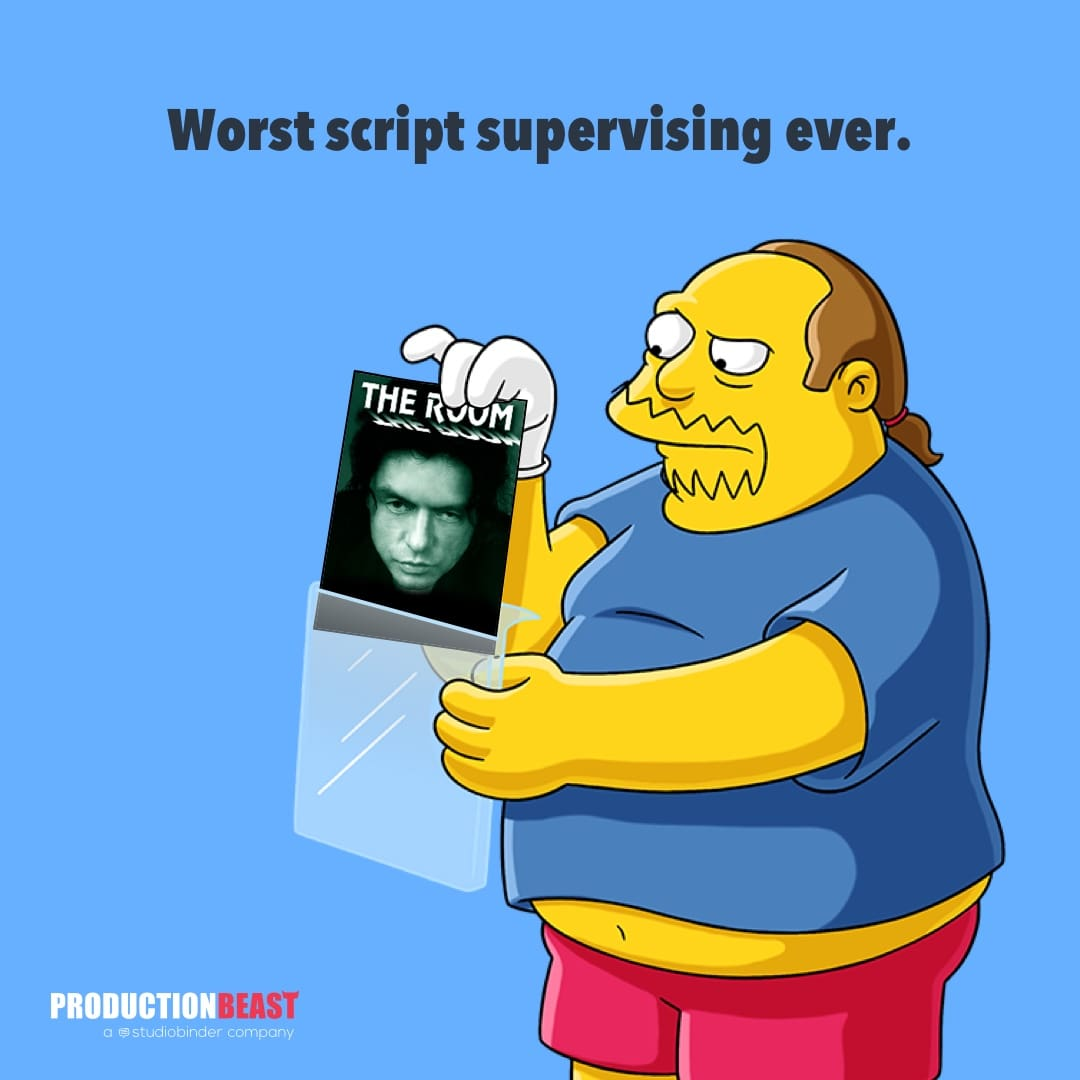 Script Supervisor - Comic Book Guy Script Supervising The Room - ProductionBeast